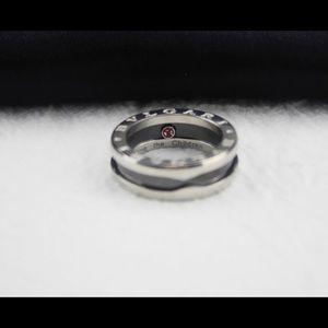 BVLGARI 925 Sterling Silver Logo Ring
